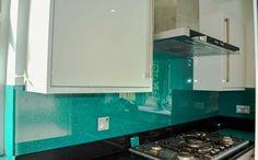 Crystalline Collection:Aqua Green Splashback by CreoGlass Design (London,UK). View more toughened glass splahback designs and non-scratch worktops on www.creoglass.co.uk #kitchen #backsplash
