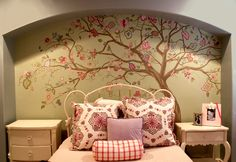 Tree mural by Positive Space- great website with lots of beautiful paint techniques and ideas