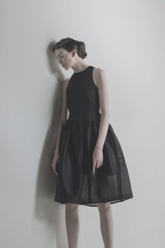 Daffodil of CURVE Fashion Portfolio, Fall Winter 2015, Daffodils, High Neck Dress, Feminine, Black, Dresses, Modern, Haute Couture