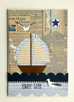 "Nautical card - nautisk maritimt kort - Karte - Authentique ""Durable"" collection paper pad -JKE"