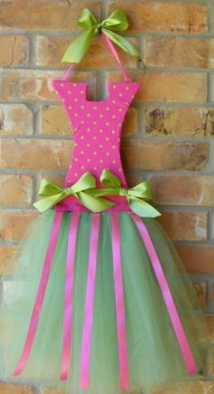 Pink & Lime Tutu Hair Bow Holder- such an adorable gift idea for a little girl