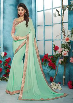 New Mint Green Colored Saree