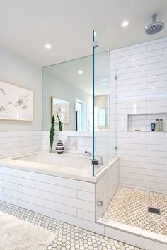 Bathroom Design : Wonderful Modern Bathroom White Tile Design Home Gray Cleane White Tile Bathroom ~ Aerial-type Bad Inspiration, Bathroom Inspiration, Modern Baths, Mid-century Modern, Modern Decor, Modern Luxury, Modern Bathrooms, Blue Bathrooms, Luxury Bathrooms