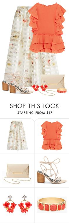 """Silk Skirt & Ruffle Top"" by majezy ❤ liked on Polyvore featuring Fendi, Apiece Apart, Charlotte Russe, Rebecca Minkoff, VANINA and Chico's"