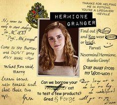 From Hermione's Hogwarts yearbook Mundo Harry Potter, Harry Potter Jokes, Harry Potter Fandom, Harry Potter World, Hermione Granger, Severus Hermione, Draco Malfoy, Emma Watson, Slytherin
