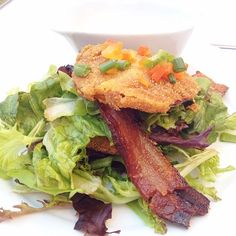 Fried Green Tomato + Bacon Salad @ The Olde Pink House = best lunch ever #Savannah