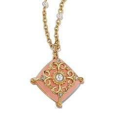 """Goldtone pendant necklace with square shaped frosted pink faux stone embellished with goldtone filigree, faux pearls and rhinestones.· Necklace: 16 1/2"""" L with Lobster Claw clasp· Extender: 3 1/2"""" L· Pendant: Removeable, 1 15/32"""" x 1 5/8""""· Imported"""