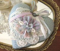 Sachet Heart Cottage Chic RUFFLED with Lavender by CharlotteStyle, $12.00