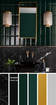 black and forest green color ideas for bathroom, black marble and forest green tiles, black and forest green color combos , black and dark green bathroom colors, black marble and green forest bathroom color Black Color Palette, Green Color Schemes, Green Colors, Color Black, Color Combos, Teal Bedroom Decor, Bedroom Green, Dark Green Bathrooms, Bathroom Black