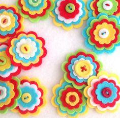 X3 botón de flor fieltro RIO adorno broche por MagentaGingerCrafts