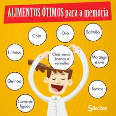 Alimentos ótimos para a Memória Healthy Lifestyle Tips, Healthy Tips, Healthy Recipes, Healthy Foods, Diet Diary, Heath And Fitness, Keto, Healing Herbs, Food Facts