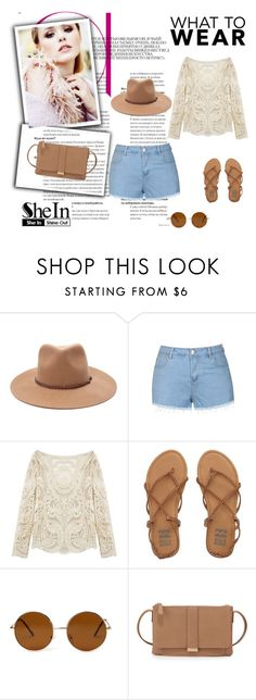 """Beige Lace Blouse"" by nermina-okanovic ❤ liked on Polyvore featuring Forever 21, Ally Fashion, Billabong, Neiman Marcus and shein"
