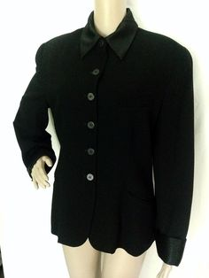 Donna Karan Essentials Black Wool Jacket w/Removable Tuxedo Collar & Cuffs Large #DonnaKaran #Blazer