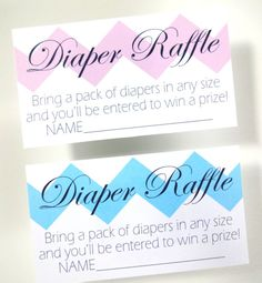 DIY Chevron Diaper Raffle Tickets for a Boy by LilCubbyPrintables