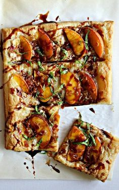 Peach Bacon & Brie Puff Pastry with a maple balsamic reduction recipe. It's sweet, savory, sticky and doughy – what more can a girl want? I ate a few slices for brunch/lunch and then had more in the afternoon. It was delicious both right out of the oven and cold!