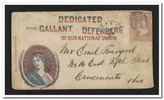 """[Civil War envelope showing bust of Columbia encircled with laurel branches bearing message """"Dedicated to the gallant defenders of our National Union""""]"""