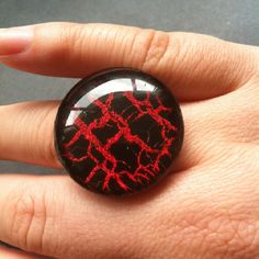 30mm Ring with Milani Red Sparkle and OPI Black Shatter