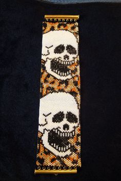 Leopard Print and Laughing Skulls Peyote Stitch by galaxyofglitter