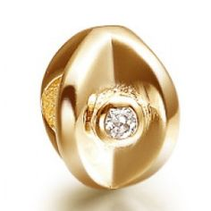 Flower Rock Crystal Gold Plated Charm  Soufeel jewelry -To Fit PANDORA/TROLLBEADS/CHAMILIA and Any other customized bracelets/necklaces. #Jewelry #Fashion #Silver #handcraft #DIY  #Accessory #customjewelry lovebeads2011.com