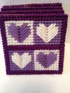 Handmade Plastic Canvas Valentine Coasters Set of by CraftyJackys