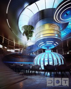 Artist's rendering of the Water Discus hotel's spacious interior