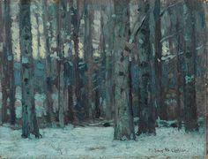 John Fabian Carlson (American, 1875-1947), Twilight in the woods. Oil on board, 6 x 8 in.