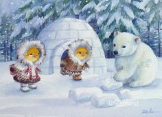 Baby+Polar+Bear & Chicks by+Zehland