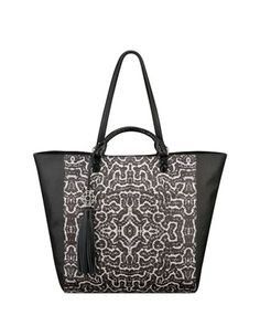 Joey Printed Leather Tote Bag, Black/White/Coral by Rafe at Neiman Marcus.