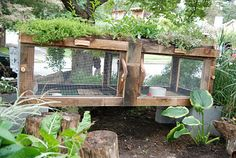 OMG LOVE this rabbit hutch/garden. WANT IT WANT IT or maybe figure out a way to do a chicken coop like this!