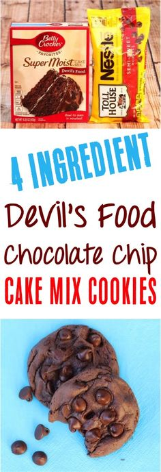 Devil's Food Cake Mix Cookies! (Chocolate Chip) (DIY Thrill) Devils Food Fudge Cookies – This Chocolate Cake Mix dessert recipe is irresistible! Perfect for those late night cravings! Chocolate Chip Cookies, Chocolate Cake Mix Recipes, Cake Mix Desserts, Chocolate Desserts, Chocolate Fudge, Mint Chocolate, Fudge Cookie Recipe, Fudge Cookies, Cake Mix Cookie Recipes