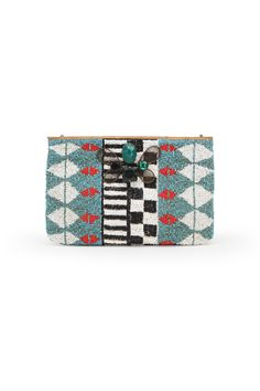 GRAPHIC EMBROIDERY CLUTCH