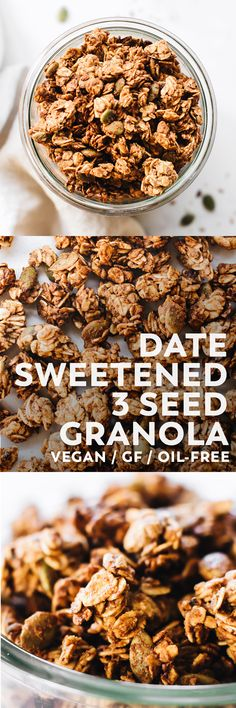 Crunchy triple seed granola without refined sugar or oil – made with medjool dates, almond butter, oats, cinnamon, and a mix of hemp, pumpkin, and flax seeds! #vegan #glutenfree #snack #breakfast #veganrecipe #oilfree #sugarfree