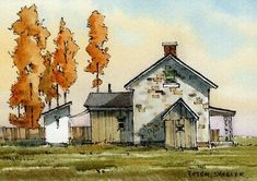 Farm Paintings, Landscape Paintings, Painting, Watercolor House Painting, Watercolor Architecture, Watercolor Landscape Paintings, Painting Art Projects, Landscape Art, Building Art