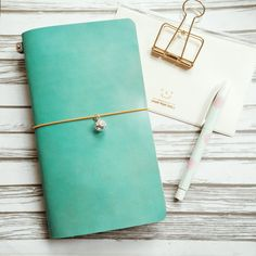 Tiffany Blue Genuine Leather MIDORI Style Traveler's Notebook by Pellestudio