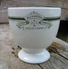Queen Alexandra Insane Asylum Egg Cup and Postcard London Ontario Canada