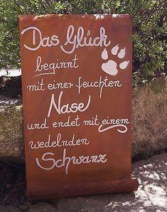 Edelrost Tafel Das Glück beginnt... Garten Schild Spruch Hund Geschenk Text