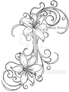 Lily Tattoo by Metacharis on DeviantArt - I could totally use this to connect my shoulder and lower back tattoo! Cover Up Tattoos, Body Art Tattoos, Tattoo Drawings, New Tattoos, Tribal Tattoos, Cool Tattoos, Tattoo Hip, Spine Tattoos, Symbol Tattoos