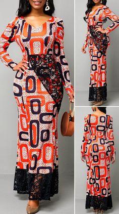 Long Sleeve Lace Patchwork Geometric Print Maxi Dress HOT SALES 2019, beautiful dresses, pretty dresses, holiday fashion, dresses outfits, dress, cute dresses, clothes, classy & elegant, elegant style, mode trends 2019, trending, fashion, fashion looks, moda, women, beautiful, beauty, buy, sale, shop, shopping, vestidos elegantes, vestidos fofos, vestidos bonitos Latest African Fashion Dresses, African Dresses For Women, African Print Fashion, African Attire, Ankara Fashion, Africa Dress, African Traditional Dresses, Long Sleeve, Outfits Dress