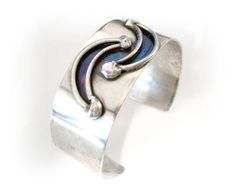 Modernist Double Moon Cuff Cast Forged Danish by VisionsOfOlde