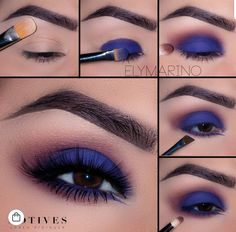 We adore navy take on the traditional smoky eye 💨. Get the loo - Makeup Tutorial For Teens Navy Eye Makeup, Dramatic Eye Makeup, Makeup Eye Looks, Eye Makeup Steps, Smokey Eye Makeup, Eyeshadow Makeup, Smoky Eye, Makeup Monolid, Dramatic Eyes