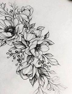 Черно-белый эскиз тату с цветами