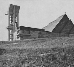 architectureofdoom: fuckyeahbrutalism: Church at Effretikon, Switzerland, (Ernst Gisel) View this on the map Modern Castle, Sacred Architecture, Brutalist, Kirchen, Switzerland, Concrete, Building, 1960s, Photography