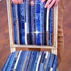 Old jean seams sewn onto fabric to create unique upholstery