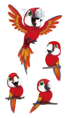 Waterproof Temporary Tatoo sticker cute red parrot tattoo Water Transfer fake  flash tattoos 10.5*6 cm for woman man kid