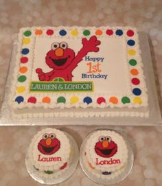 Elmo Birthday Cake for Twins