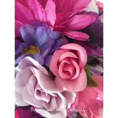 Floral home decor, floral arrangement, flower arrangement, artificial... ($45) ❤ liked on Polyvore featuring home, home decor, floral decor, rose flower bouquet, flower pot, pink flower bouquet, gerbera daisy bouquet and faux flowers