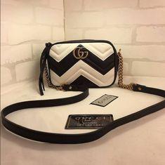 Fashion trend: Women's Gucci Marmont Matelassé shoulder bag in white and black