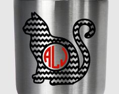 Check out Chevron cat monogram decal, for Yeti®, RTIC, Ozark Trail or other tumbler on PracticallyWhimsy