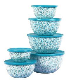 Reston Lloyd Turquoise 12-Piece Sponge-Effect Bowl Set | zulily