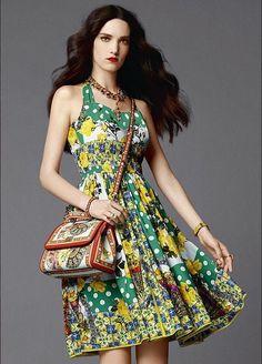 www.fashionmyloveitaly.com Green yellow midi dress spring summer 2015 on fashionmyloveitaly Dolce & Gabbana Abbigliamento Donna Estate 2015